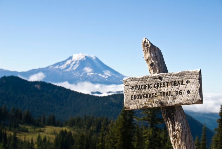 Sign for the Pacific Crest trail, with Mount Adams in background